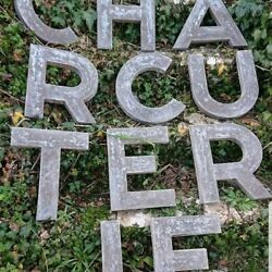 C. 1930 Antique French Zinc Charcuterie Trade Sign Restaurant Hotel Project