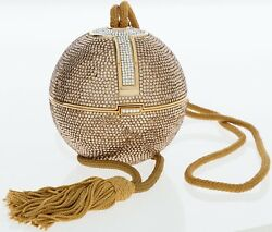 Judith Leiber Crystal Bag Ball Tassel Champagne Gold Minaudière Evening Vintage