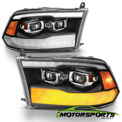 For 2009-2018 Dodge Ram 1500 2500 3500 Black Led Drl Dual Projector Headlights