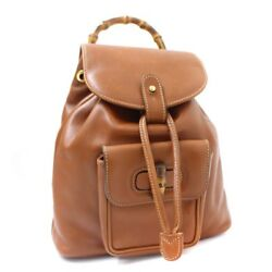 GUCCI 003 2058 0030 Backpack  Daypack leatherBamboo Women