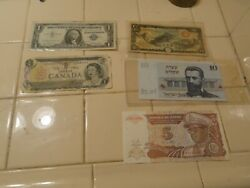 5 Lot Of Nice Paper Money From Various Countries 1.1957 Silver Dollar.2 Canadian