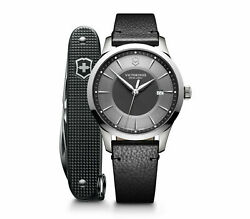 New Victorinox Swiss Army Alliance Gray Dial Leather Band Menand039s Watch 241804.1