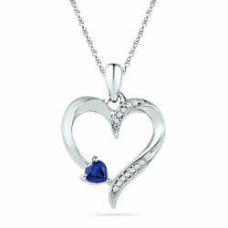 10k White Gold Round Lab-created Blue Sapphire Solitaire Heart Pendant 1/20