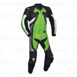 Mens Motorcycle Green Cowhide Leather 1/2 Piece Suit Speed Hump Safety Pads