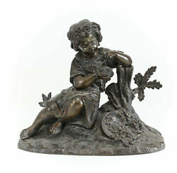Patinated Bronze Figurative Sculpture 19th Century Girl With Bird Egg And Nest