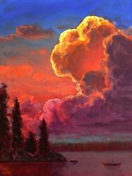 Oil Painting Landscape Vintage Red Clouds Impressionist Western Art Max Cole