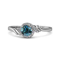 Blue And White Diamond Womens Bypass Engagement Ring 1.08 Ctw 14k Gold Jp115433