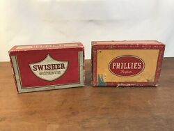 Phillies Perfecto And Swisher Sweets Vintage Cigar Boxes Set Of 2 Hd25