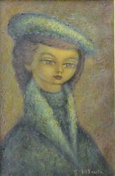 Jean Lareuse French 1925 Oil Painting Portrait French Woman With Beret