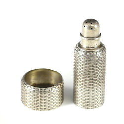 2pc Sterling Silver Basket Weave Salt Shaker And Salt Cellar By Whiting Mfg Co