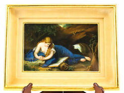 C1900 German Porcelain Hand Painted Plaque Of The Penitent Magdalene Gold