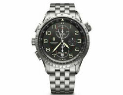 New Victorinox Airboss Mechanical Mach 9 St Steel Black Dial Menand039s Watch 241722