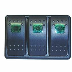 Fastronix Lighted 3 Rocker Switch Panel AutoMarine (Green) Automotive