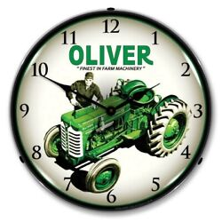 Retro Style Oliver Super 55 Farm Tractor Led Lighted Backlit Man Cave Wall Clock