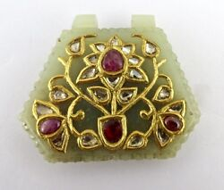 Antique Old Nephrite Jade Pendant Studded With Flat Diamond Rubies In 22k Gold