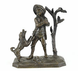Continental Patinated Bronze Figurine, 19th Century Small Child W/ Dog And Tree