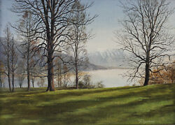 Alfred Fritzsching German 1935- Oil Painting Landscape W/ Lake Trees