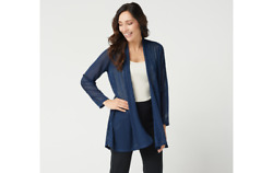 Susan Graver Novelty Knit Open Front Duster Cardigan Classic Navy Xl A347244 Qvc