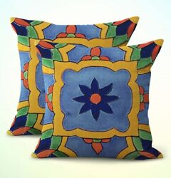 set of 2 decorative pillow covers for sofa Mexican south western