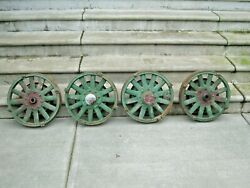 Set Of 4 Antique Wooden 12 Spoke Desoto Rims 8 Bolt 1929 Business Coupe 19