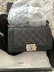100% Authentic Chanel Le Boy Calfskin Old Medium Black Quilted Flap Bag