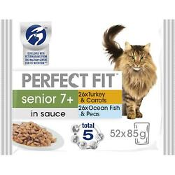 52 X 85g Perfect Fit 7+ Senior Wet Cat Food Pouches Mixed Selection In Sauce