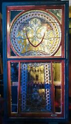 Beveled and Jeweled Rare Leaded Keyhole window from Museum