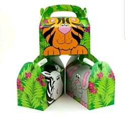 Zoo Animal Treat Gift Boxes Birthday Favor Box Lot Pack Of 36 Boxes+2 Tablecloth