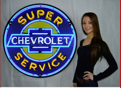 36 Super Chevrolet Service In Steel Can Neon Sign