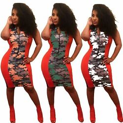 Women Sleeveless Zipper Colors Blocks Camouflage Casual Bodycon Club Party Dress