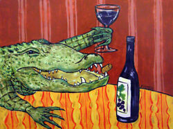 "Animals Art Oil Painting Print On Canvas Decor""Alligator At The Wine Bar"