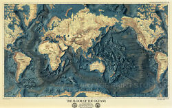 Floor Of The Oceans Vintage Old World Map Poster Giclee Matte Paper Print 60x38