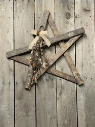Primitive - Country Skewed Amish Tobacco Lath Star With Berries And Rusty Stars