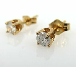 Vintage 0.30ct Diamond And 14k Yellow Gold Push Back Stud Earrings