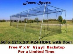 Batting Cage Net 10and039 X 12and039 X 60and039 24 Hdpe 42ply With Door Baseball Softball