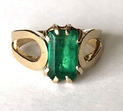 Vintage 14k Solid Gold Natural Green Emerald 4ct Ladies Ring Sz 10.5