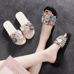 Womens Low Heels Moccasins Casual Shoes Flowers Pearls Casual Shoes Beaches lic0