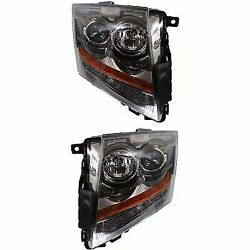 Headlight Set For 2008-2015 Cadillac CTS Driver and Passenger Side w bulb