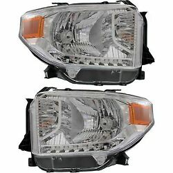 Headlight Set For 2014-2015 Toyota Tundra Driver and Passenger Side w bulb
