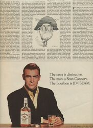 1966 Jim Beam Whiskey Ad  Hollywood Movie Star Sean Connery