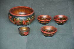 5 Pc Old Wooden Lacquer Floral Design Handcarfted Bowls Collectible