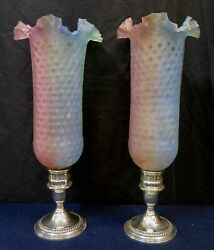 Vintage American Art Glass Shades W/ Sterling Silver Holders