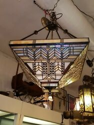 Vintage Stained Glass And Wrought Iron Hanging Chandelier 3 Matching Sconces
