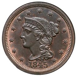 1845 N-4 Ngc Ms 64 Rb Braided Hair Large Cent Coin 1c