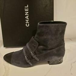 18b Suede Buckled Pointed Toe Short Ankle Booties Boots Grey Black 1600