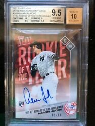 2017 Topps Now Os Auto Red Aaron Judge/and03917 Al Rookie Of The Year Winner Bgs 9.5