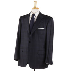 Nwt 6500 Brioni Black-blue Check Year-round Super 150s Wool Suit 45 R