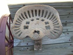 Vintage Cast Iron Racine Tractor Seat Implement Seat Base And Oil Can Holder
