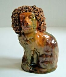 Redware Spaniel Bank C.1860 George Wagner Carbon County Pa Lehighton Antique