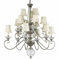 Colonial Silver Crystal 15 Light Chandelier Candles Progress Lighting P4233-43